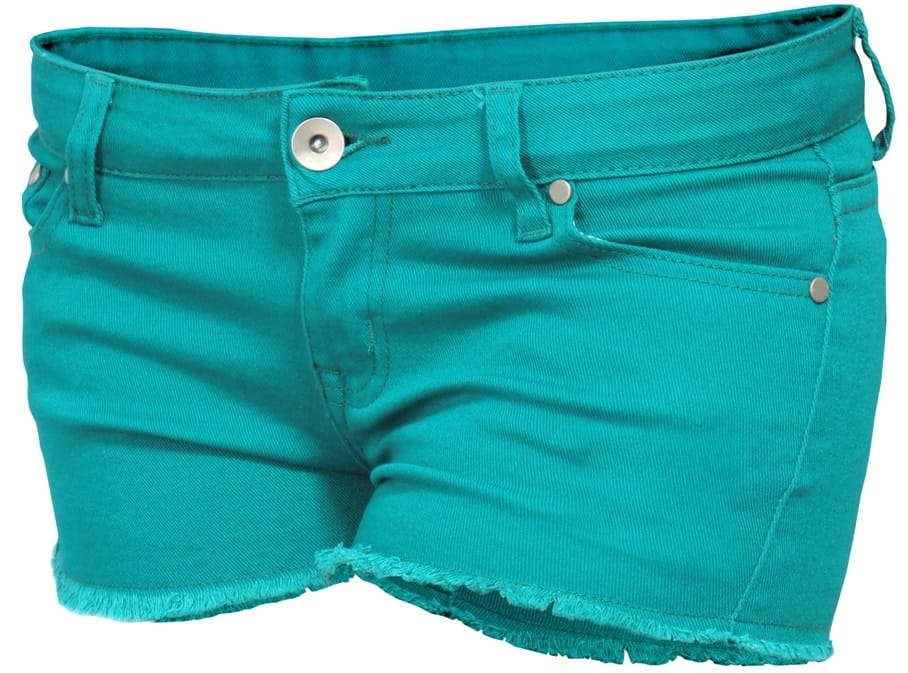 A turquoise mini shorts for women.