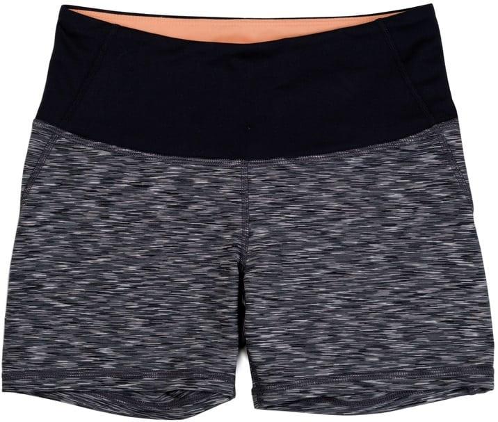 A pair of dark gray athletic shorts.