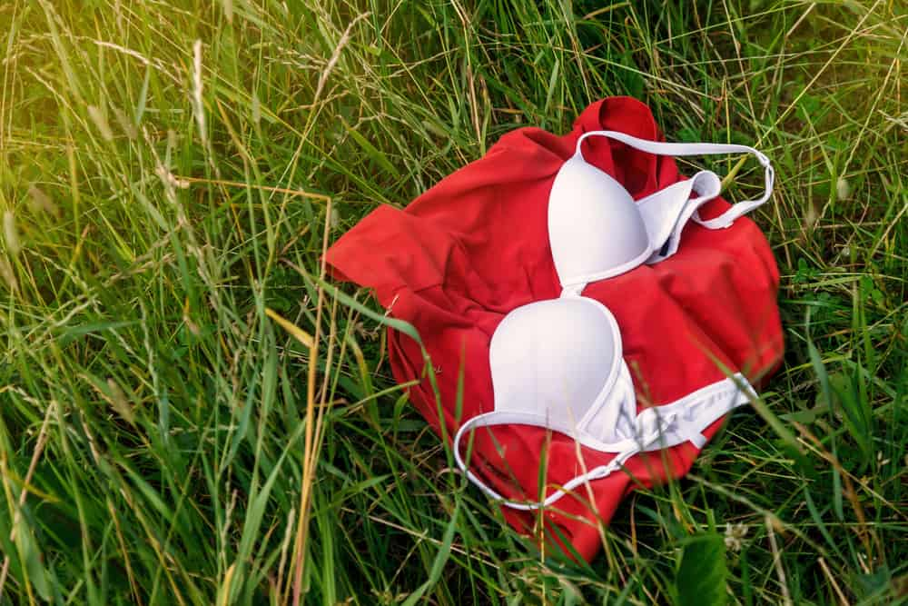 This is the a close look at a red shirt and a bra on a grass field.