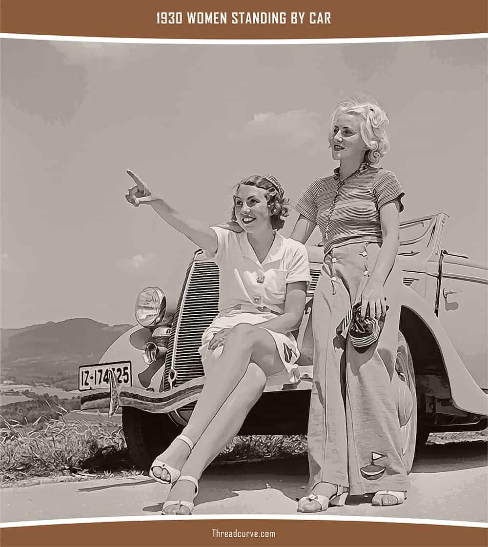 Women standing by car in 1930.