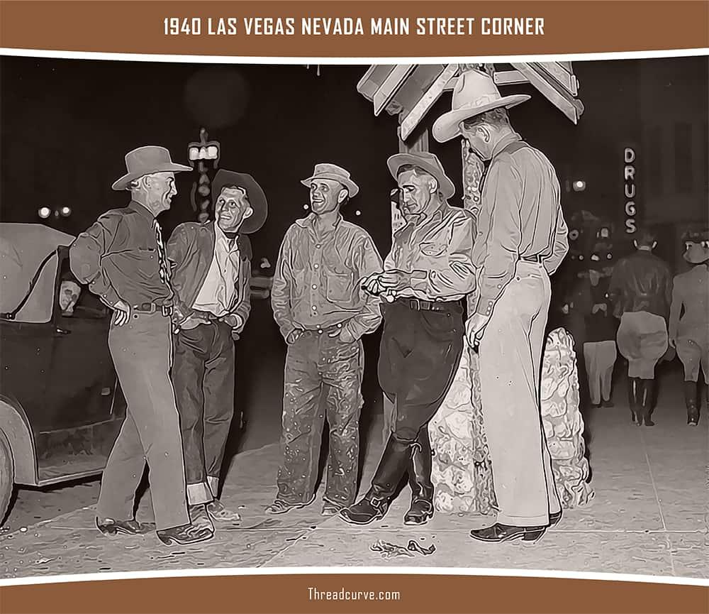 Men hanging out at Las Vegas Nevada Main Street Corner in 1940.