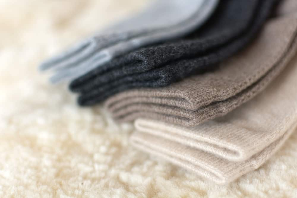 A close look at a variety of cashmere socks.