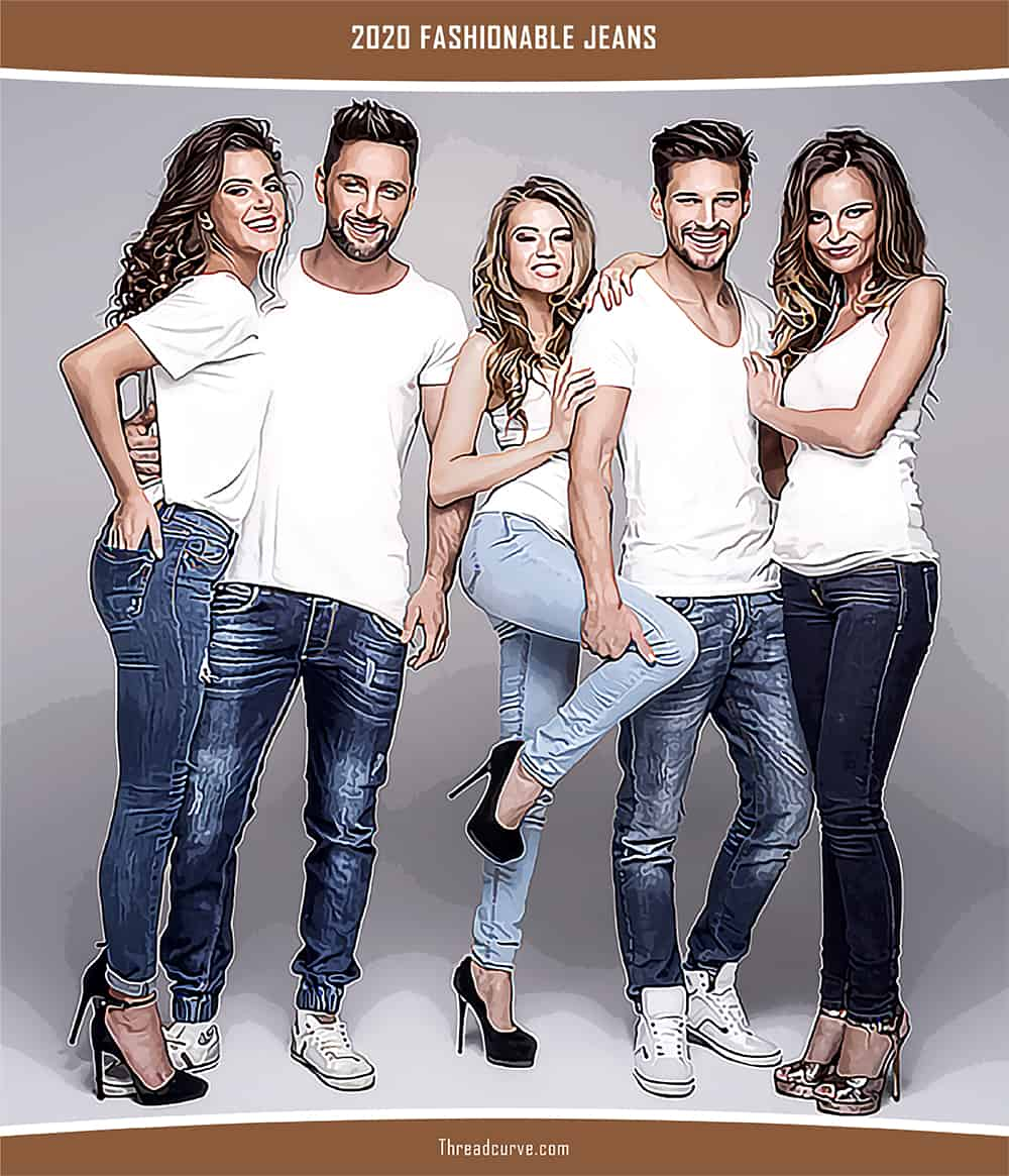 Young men and women wearing white tops and jeans.