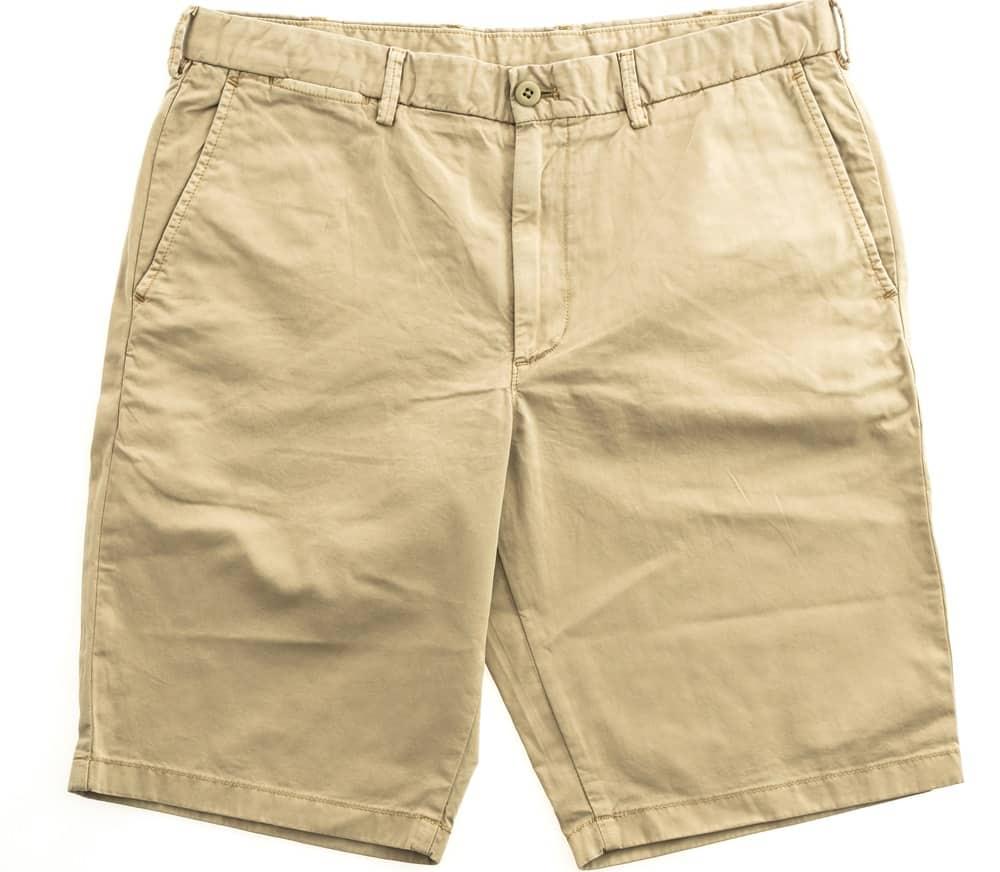 A pair of brown chino shorts.