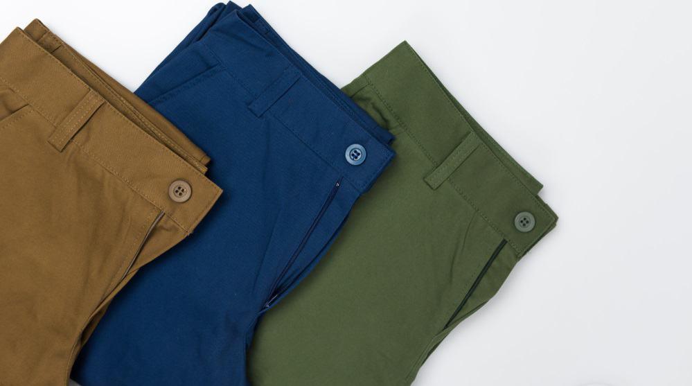 This is a close look at various chino pants.