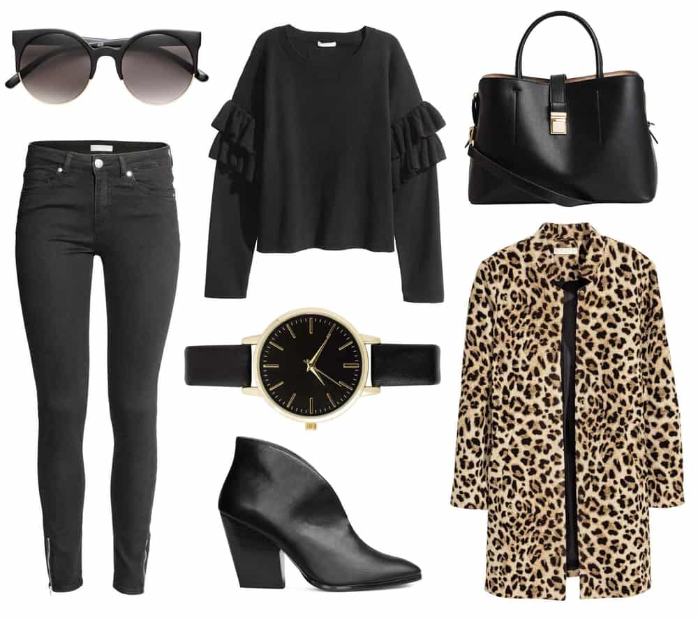This is a full ensemble outfit that includes a pair of black jeans.