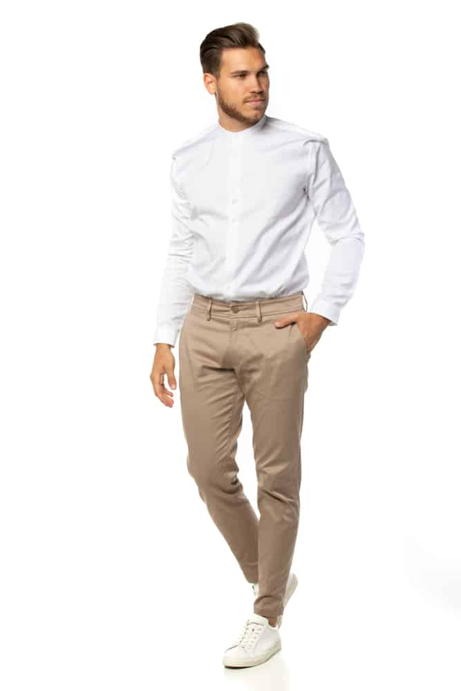 This is a man wearing a pair of brown chinos.
