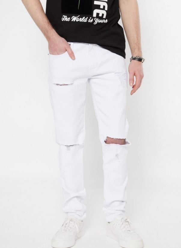 The Supreme Flex White Blown Knee Skinny Jeans from Rue21.