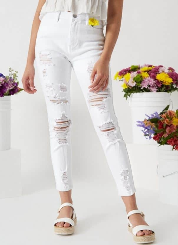 The White High Waisted Ripped Ankle Jeggings from Rue21.