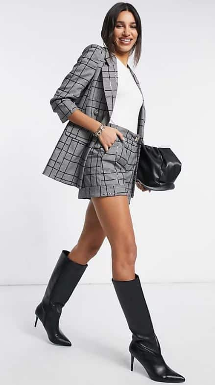 The gray patterned suit shorts in gray for women from ASOS.