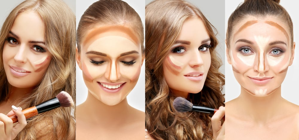 Collage of female faces with contour makeup.
