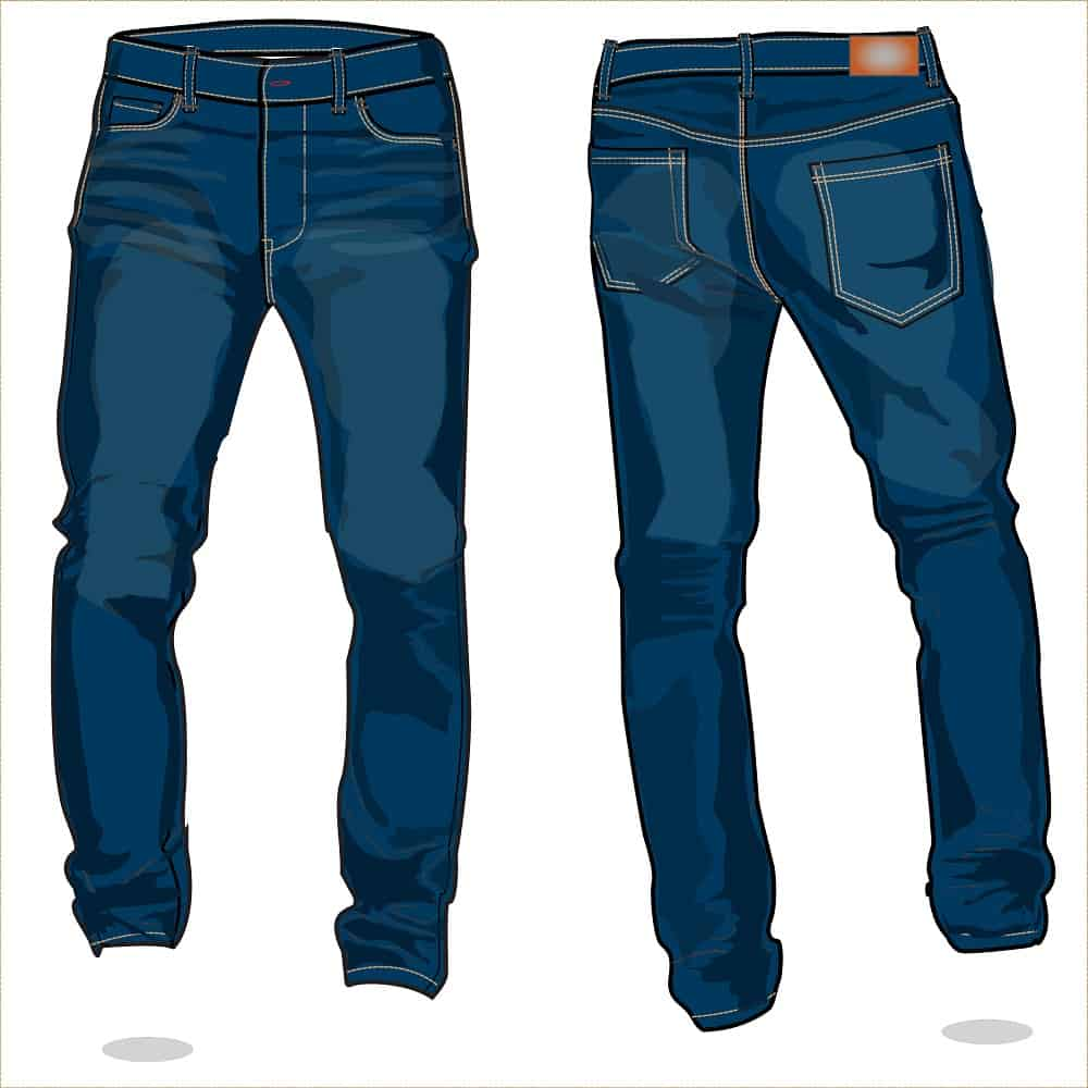 Vector image of denim pants - front and back.