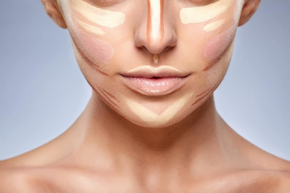 Close-up of woman with contouring on face.