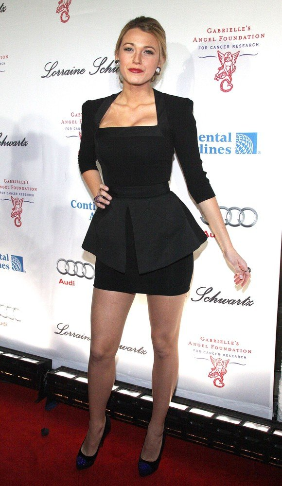 This is Blake Lively wearing a Victoria Beckham black dress in New York.