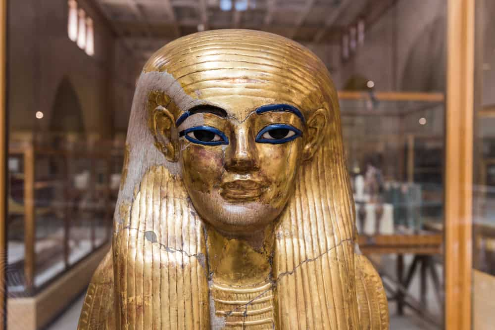 Golden Pharaoh mask in the Museum of Egyptian Antiquities.