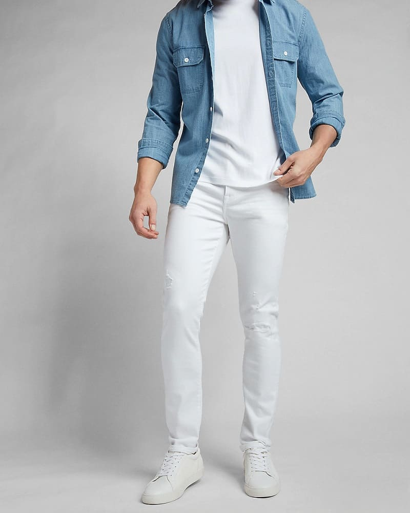 This is the Skinny White Destroyed Temp Control Hyper Stretch Jeans from Express.