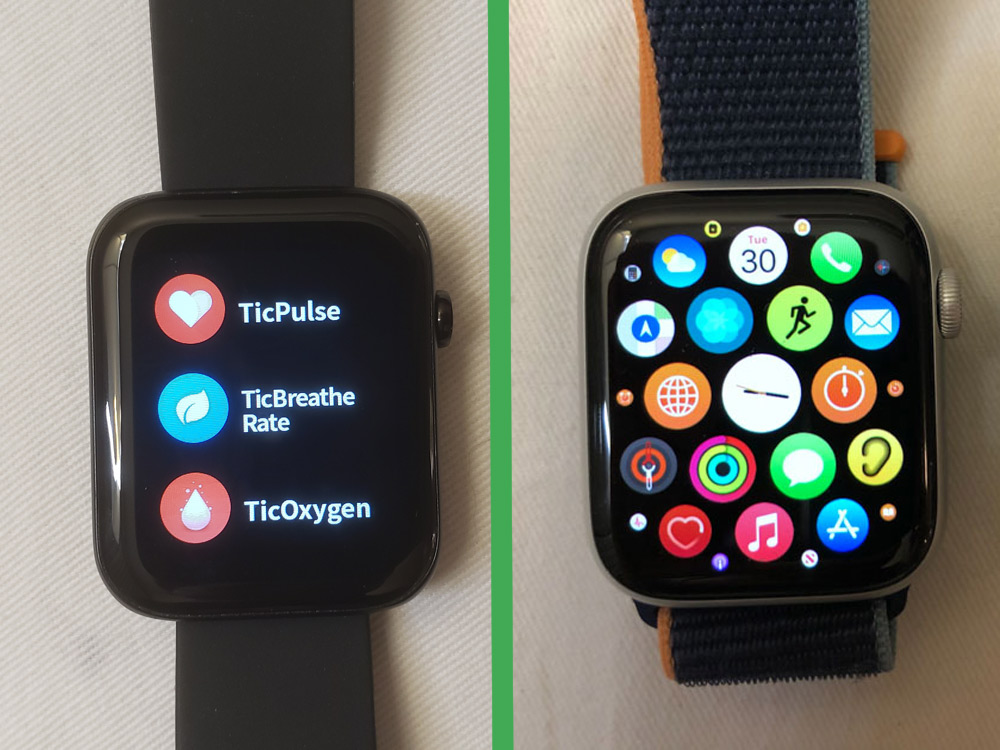 ticwatch gth vs apple watch series 6 menu