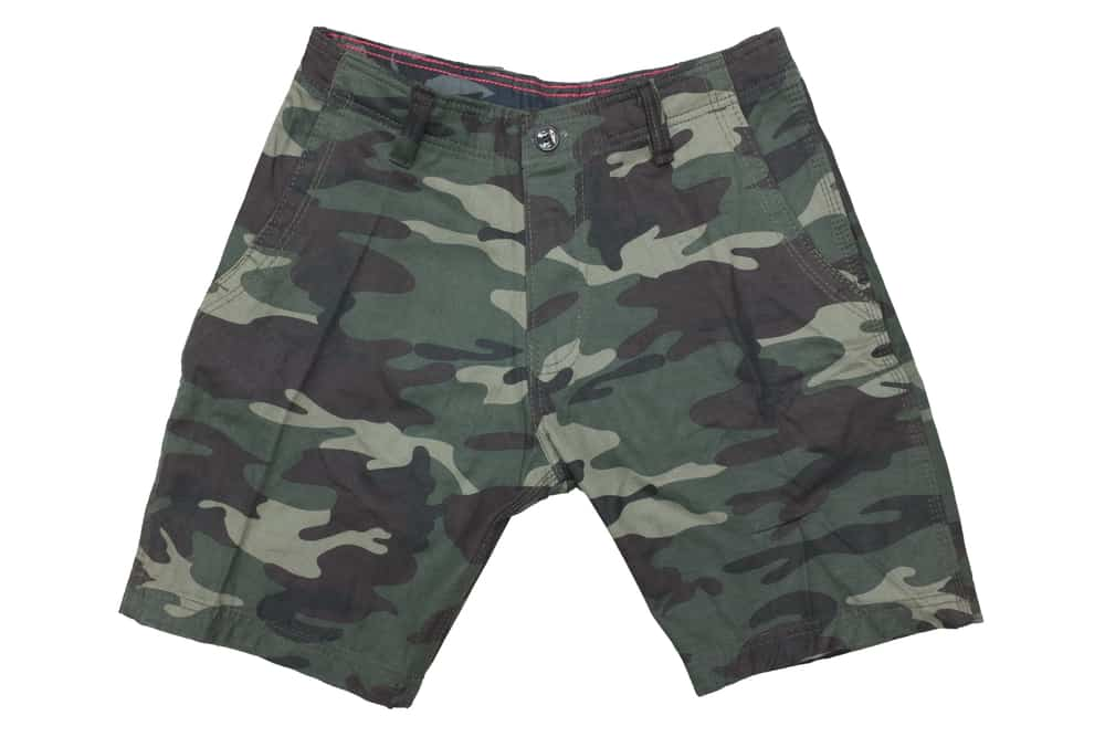 This is a close look at a camouflage-patterned pair of shorts.