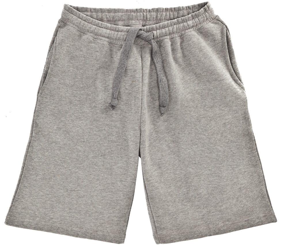 This is a close look at a pair of gray shorts.