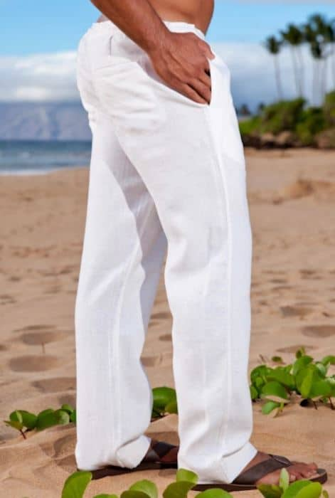 The white linen riviera pant from Island Importer.