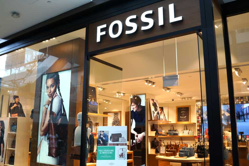 This is a close look at the Fossil store front in a mall.