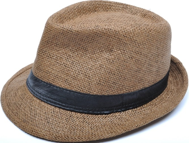 This is a close look at a woven brown trilby hat.