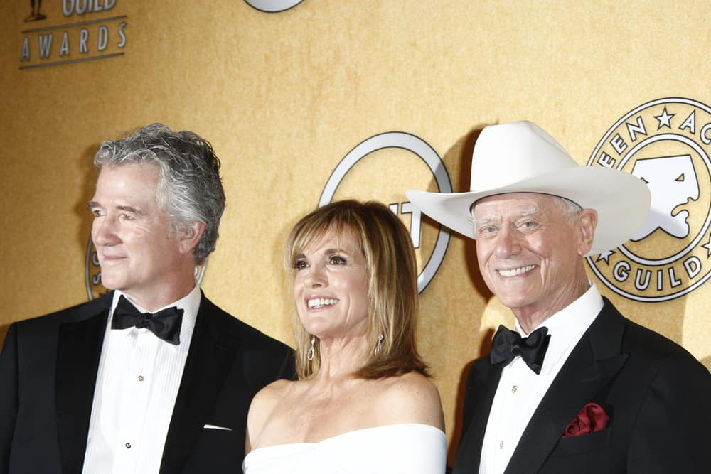Patrick Duffy, Linda Gray and Larry Hagman attended a press conference.
