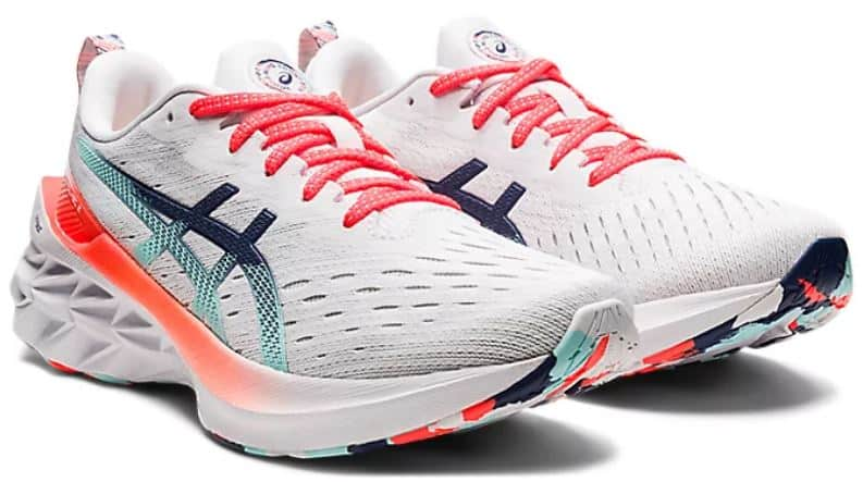 The Novablast 2 shoes in white from Asics.