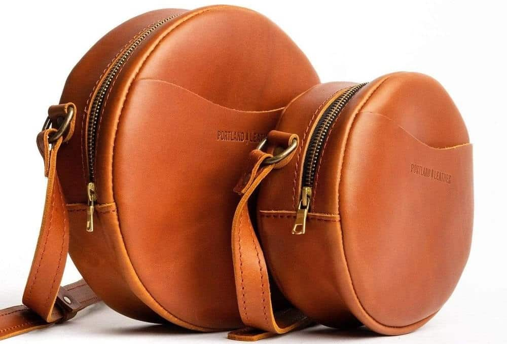 The Almost Perfect Circle Crossbody in brown leather by Portland Leather Goods.
