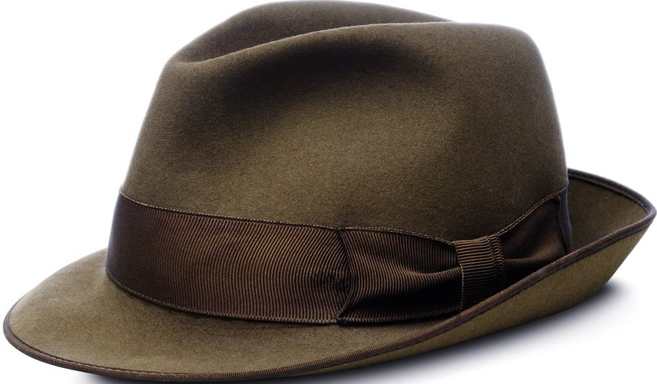 A close look at a brown homburg hat.