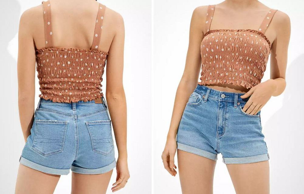 The Stretch Denim Mom Shorts from American Eagle.