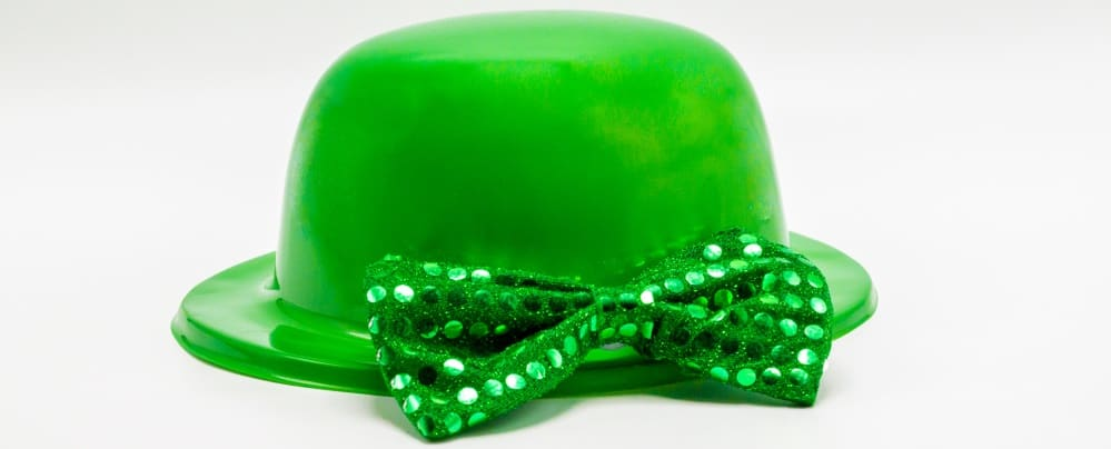 This is a bright green St. Patrick's Day hat with matching bow tie.