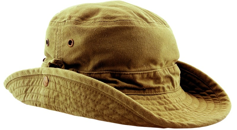 A close look at a forest green safari hat.