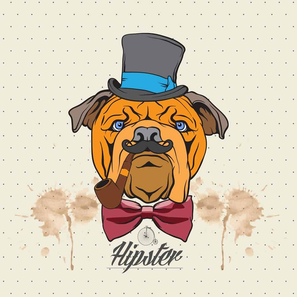 This is a close look at an illustration of a bulldog wearing a hat and bow tie.