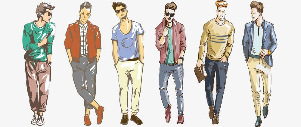 This is a close look at various men's fashion illustration.