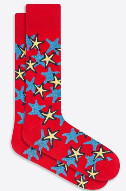 The Starfish mid-calf socks in Ruby from Bugatchi.