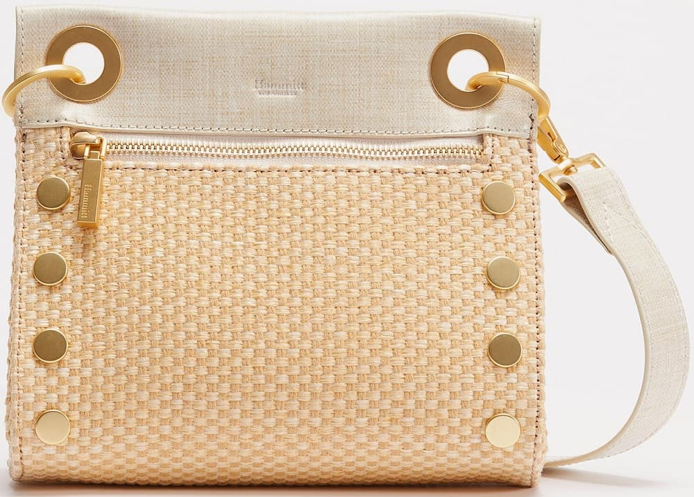 The Small Raffia Crossbody Bag Tony SML in brushed gold from Hammitt.