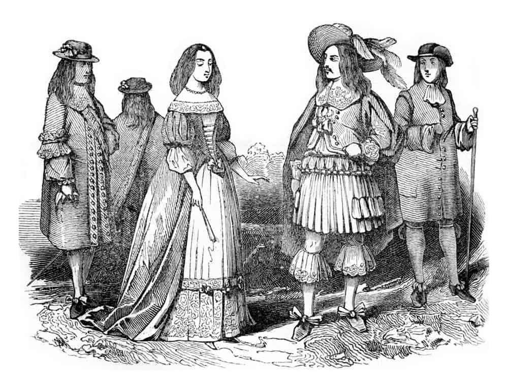 Vintage illustration of King Charles II and Queen.