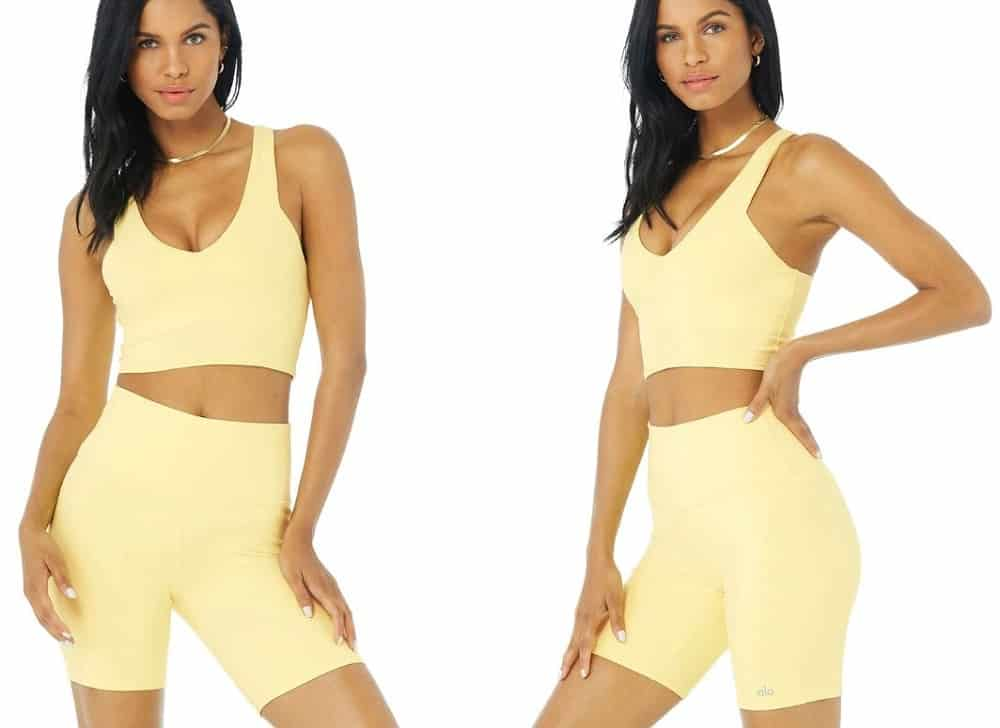 Airbrush Real Bra Tank from Alo Yoga in yellow buttercup.