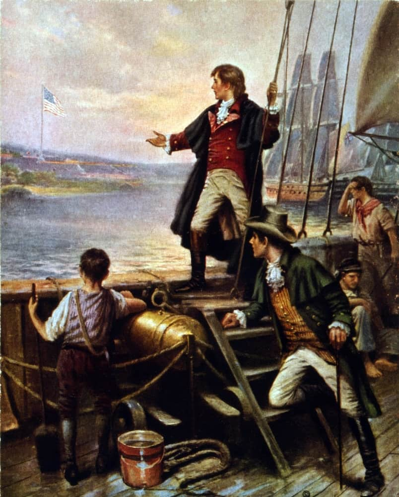Francis Scott Key awakes  to see the American flag still waving over Fort McHenry.