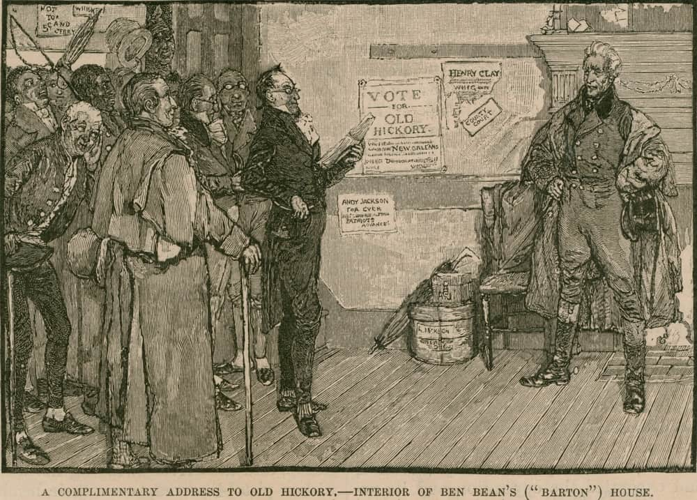 Andrew Jackson receives a complimentary address from supporters at Ben Beans 'Barton' House an inn on the National Road Cumberland Highway.