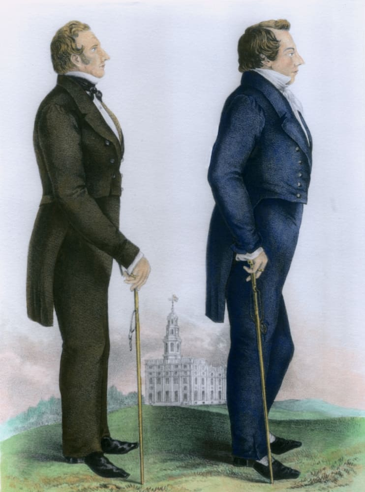 Dual portrait of Mormons Joseph and Hyrum Smith with the Nauvoo temple in the background.