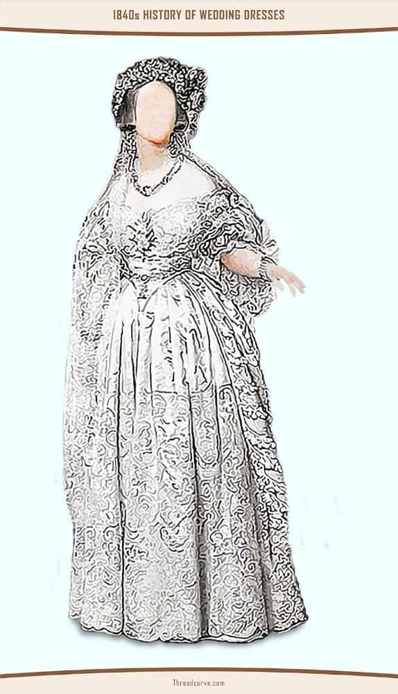 Portrait of a woman wearing a white wedding dress.