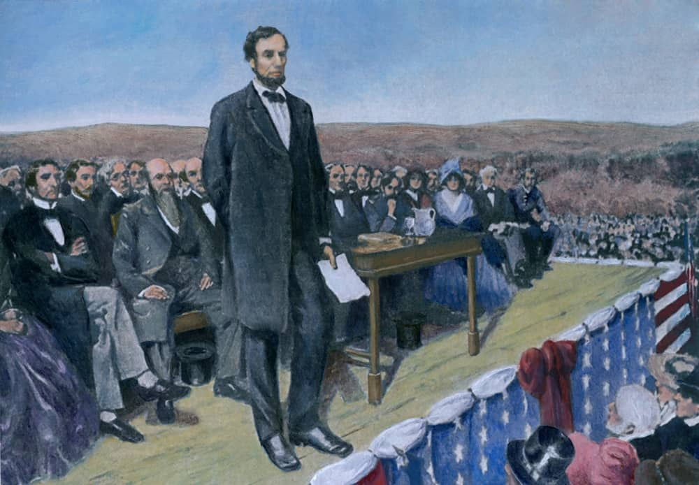 Abraham Lincoln delivering the Gettysburg Address at the dedication ceremonies at the Soldiers' National cemetery.