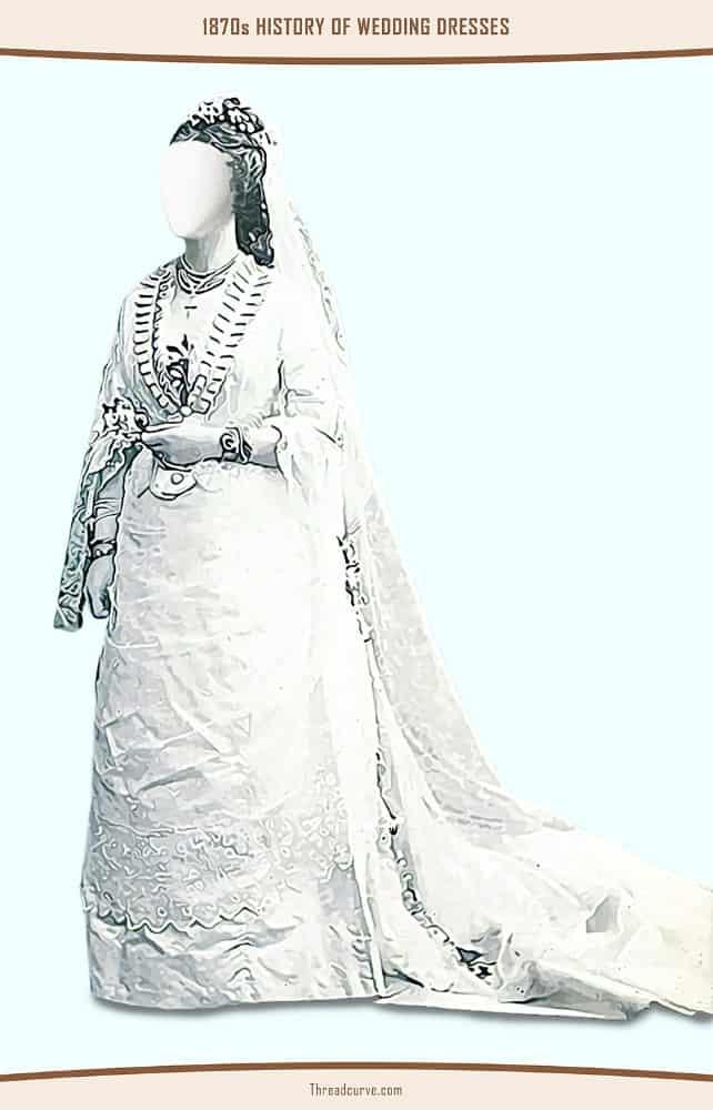 Portrait of a bride wearing a bulky wedding dress.