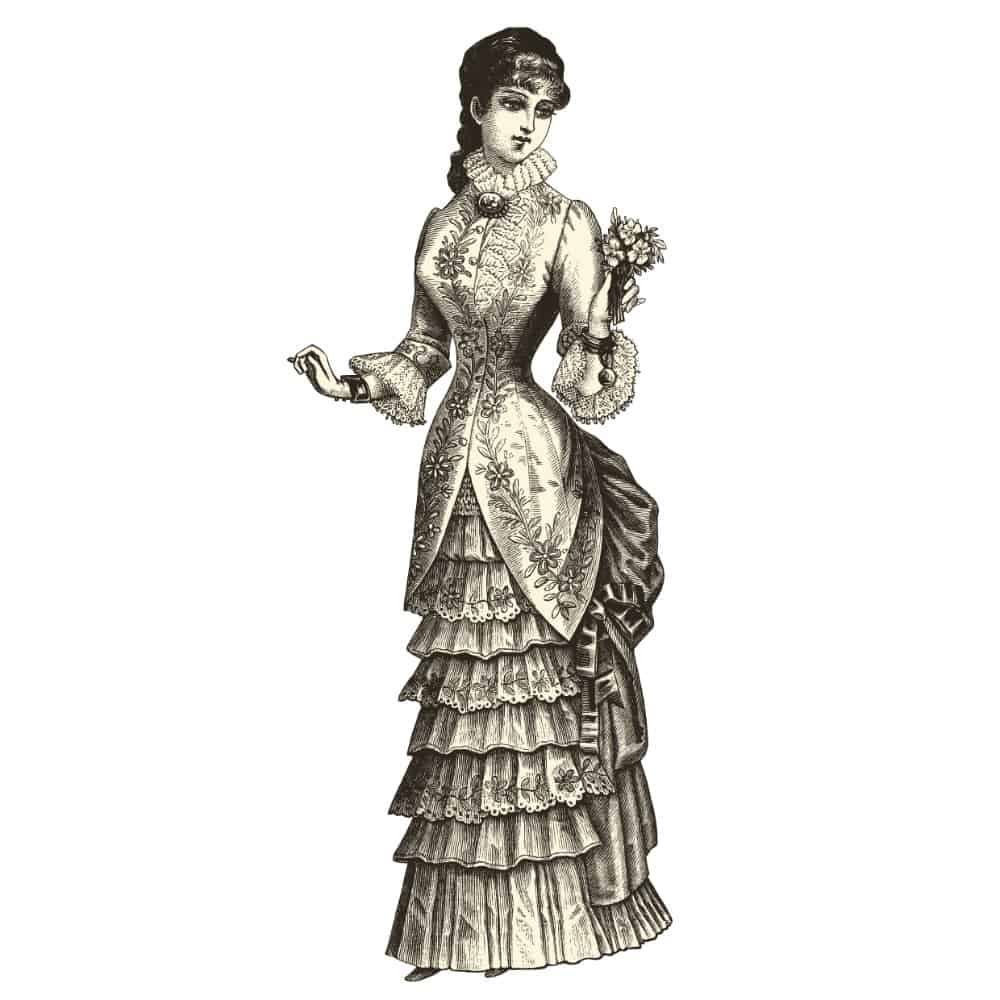 Vintage illustration of a woman wearing a wedding dress and gloves.