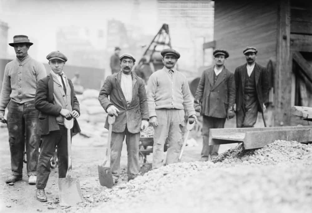 Alien Subway workers with shovels dressed in their street clothing, as they begin work constructing the New York City Subway.