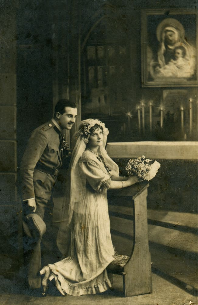 Vintage photo of a young couple getting married in the Orthodox Church.
