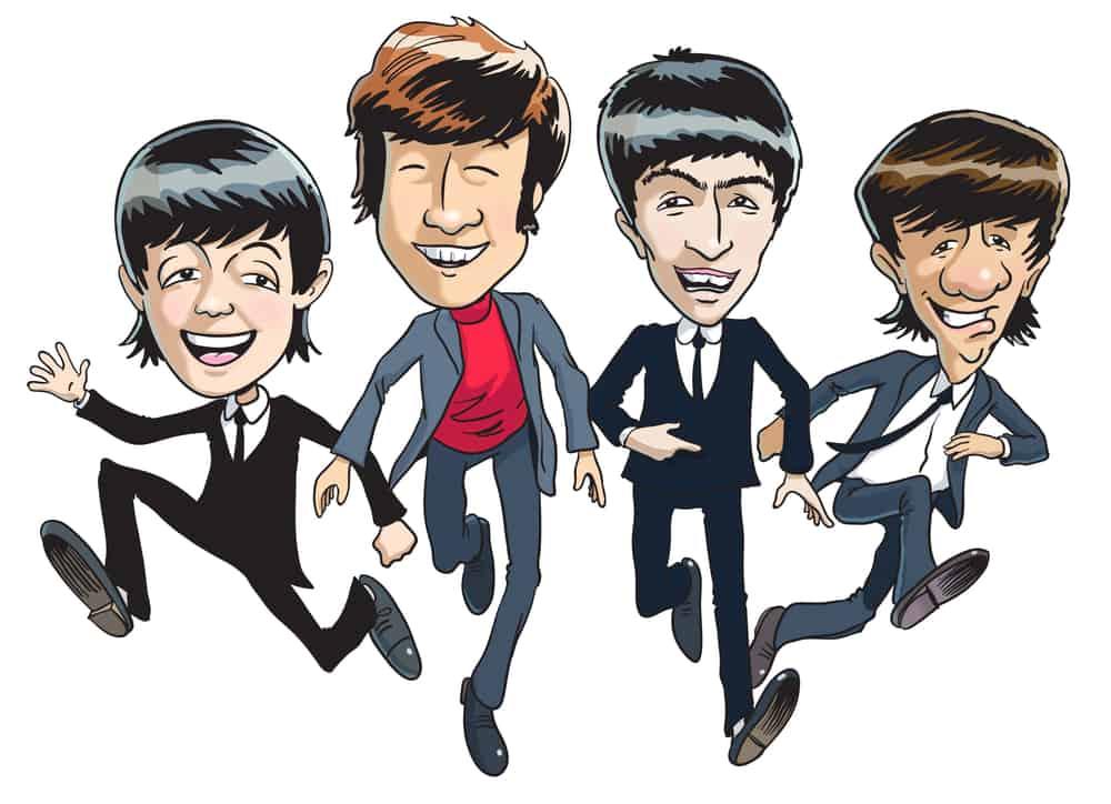 Cartoon illustration of The Beatles.