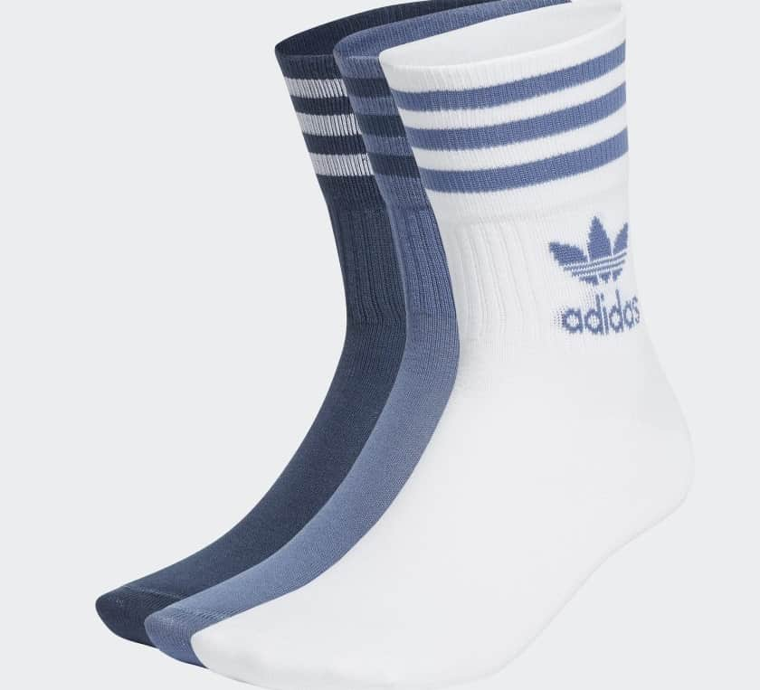 The Mid Cut Crew Socks from Adidas in 3 pairs.